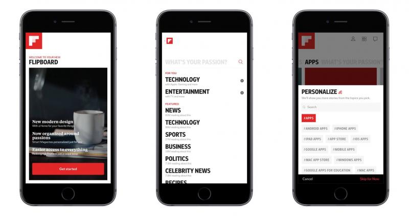 Screenshots van de flipboard app